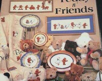 Cross Stitch Teddy N' Friends by Dale Burdett bears in adorable poses (1984)