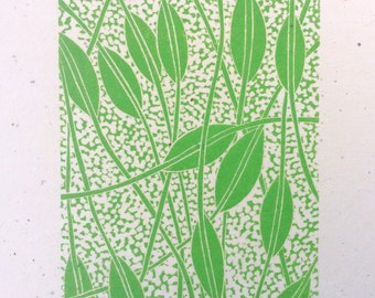 linocut - WEAVING // 8x10 art print // printmaking // block print // green // leaves // vines // original art // wall art