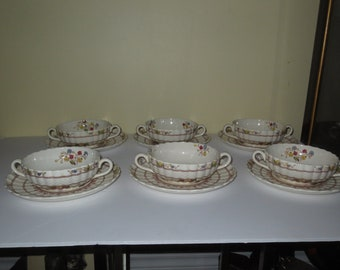 Rare Vintage Copeland Spode Cowslip S713 Cream Soup Bowls with Under-plates , Set of 6