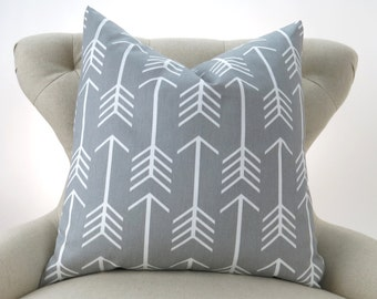 Gray Floor Pillow Cover, Euro Sham, Cushion Cover, Big Pillow, Gray White Decor, Gray Arrow Pattern -24x24 26x26 28x28 inch- Premier Prints