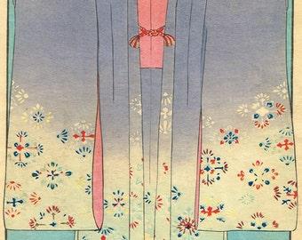 1900, Japanese antique woodblock print, Kimono design