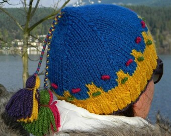 READY TO SHIP - Hand Knit Hat -  Blue & Yellow Knitted Hat - Woman Knitted Toque -  Womens accessories - Acrylic Yarn Adult Hat with tassels