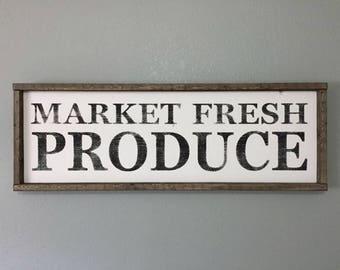 Framed Wooden Sign - Market Fresh Produce - Kitchen Decor - Farmhouse Signs - Farmhouse Decor - Framed Signs - Wooden Signs