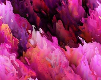 À la main créée artiste Orange rose violet lavande en coton d'ameublement toile tissu fibre Art