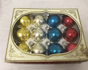 Large Shiny Brite Christmas Ornaments - Set of 12 with Box
