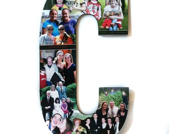 Custom  Photo Collage letter, vacation photos, sunset photos, Girlfriend gift - College dorm room decor - COLOR