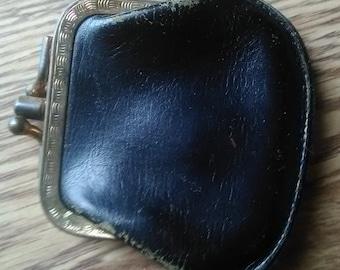 Vintage three pocket leather change purse