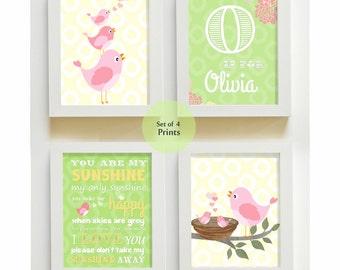 Girl Nursery Decor - You are My Sunshine Prints for Nursery or Kids Room,  Baby Nursery Decor, set of four  8x10, pink and green
