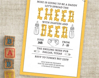 Bottles and Beer Man Shower Invitation Cheer and Beer Diaper and Baby Bottle Personalized Custom Digital File with Professional Printing