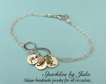 Personalized Infinity Bracelet with Birthstones - Sterling Silver Infinity, Hand Stamped Initial Charms, Tiny Birthstones, Husband & Wife