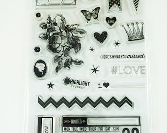 Heidi Swapp Clear Stamps | Love Icons | HS01102 | 23 PC