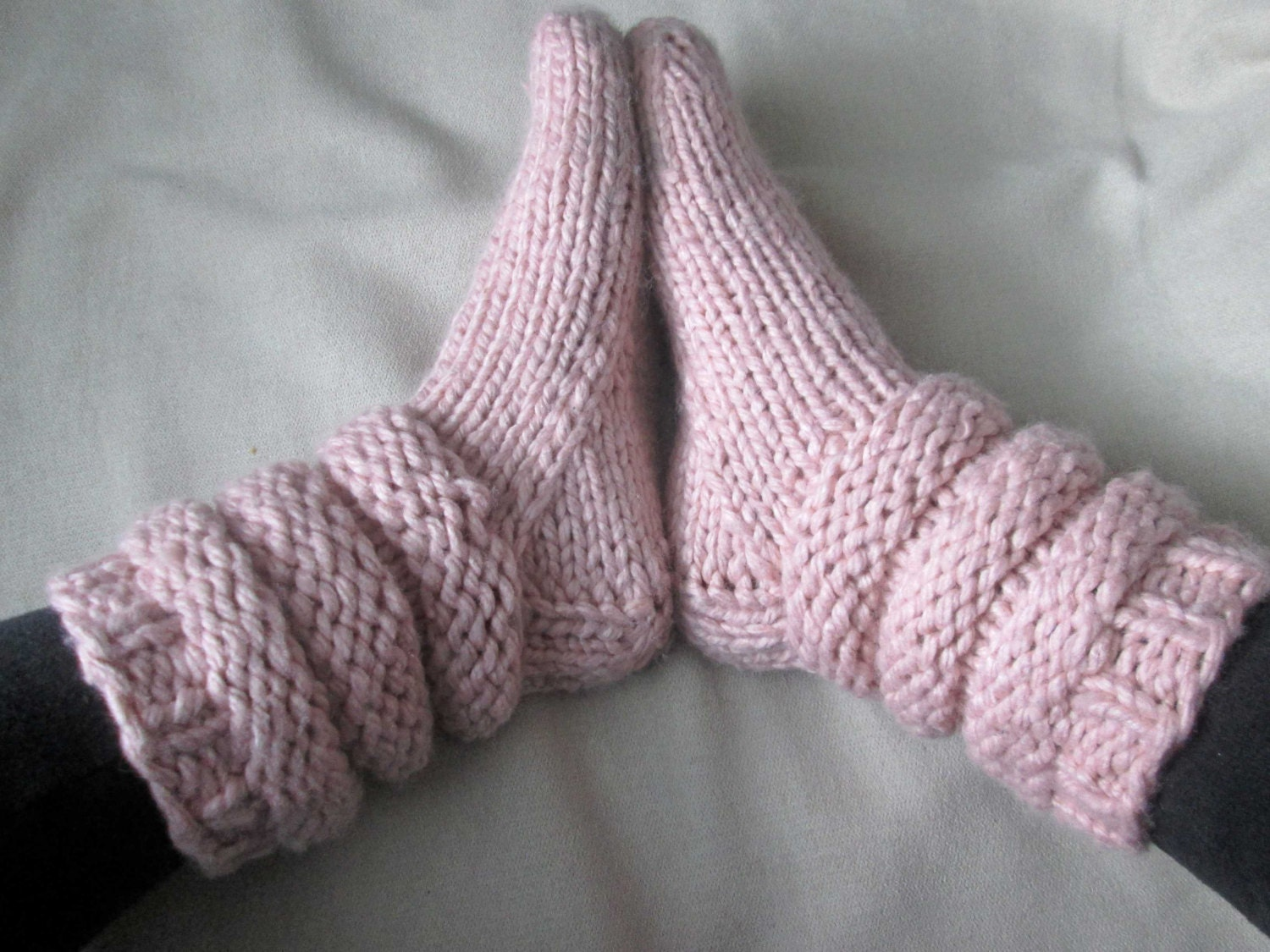 Slipper Socks Knitting Pattern Pattern for Chunky Knit