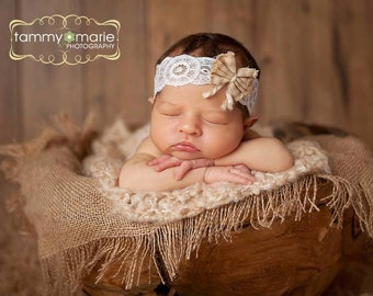 Charlize - Open Halo Headband Wrap Tie Back - White Cream Taupe Natural Bow Lace  - Newborn Baby Girl Infant Adults - Photo Prop