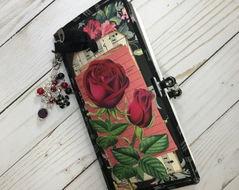 Rose Journal / Travelers Notebook Junk Journal Insert / Red Rose Junk Journal / Prayer Journal /Handmade Journal / OOAK TN Insert / Rose