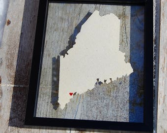 MAINE LOVE 11x14 Map Gift  * Custom Framed Handmade Canvas Art * State & City * Moving Birthday Wedding Anniversary Graduation Engagement