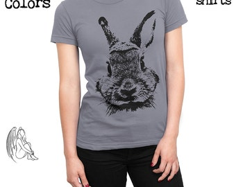 Women's Rabbit T-shirt, Tee, American Apparel, Bunny, Cute, Animal, Animals, Furry, Adorable, Cute Gift