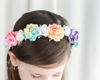 Rainbow Flower Crown, Rainbow Headband, Rainbow Baby Headband, Rainbow Baby Gift, Rainbow Baby Outfit, Rainbow Flower Headband, Rainbow Halo