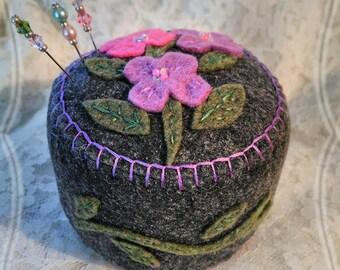 Handmade Felt Flower Trio Pincushion Hand stitched
