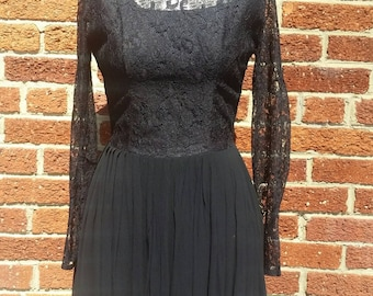 Little Black Vintage Lace and Chiffon Skirt Dress // Mini Dress