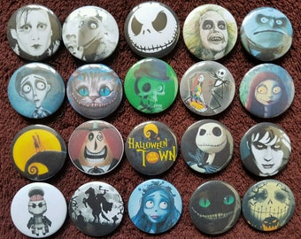 Tim Burton Characters Button Badges x 20. Halloween. Pins. Collector. Wholesale :0)