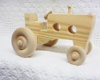 Large Wide Front Wooden Toy Tractor