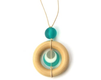 Wooden Teething Necklace/ Nursing Necklace/  - Natural Wood and Resin Breastfeeding Necklace - Aqua, White and Grey