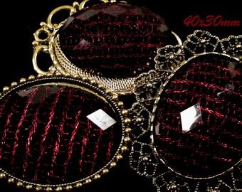 40x30mm - Black/Red Fashion Cabochon - 3 pcs : sku 11.24.12.21 - T8