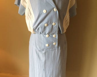 Light Blue and White Double Breasted 1980's Dress with Drop Waist // Vintage Summer Dress