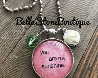 You are my sunshine glass pendant necklace/glass tile necklace/swarovski charm necklace/valentine gift/gift for her/rts