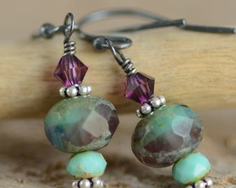 Sterling Silver Earrings Oxidized Misty Lilac Turquoise Amethyst Czech Glass Swarovski Crystal Jewelry Spring Fashion Earrings