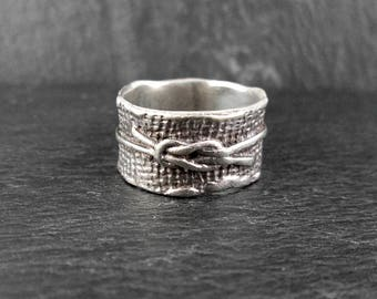Sterling Silver Knot Ring | Size 7.5 | Unusual Vintage Ring