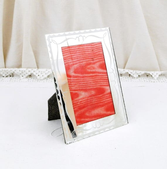 Vintage French Glass Mirrored Picture / Portrait / PhotoFrame, Shabby Chateau Chic Country Decor, 1940s Retro Brocante Mirror from France