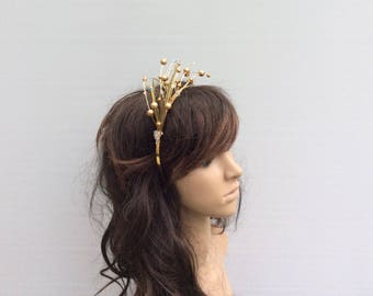 Gold Bead & Swarovski Crystal Fascinator/ Headpiece