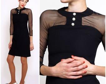 Vintage 1960s Sheer Illusion Bodice Black Mod Shift Dress with Rhinestone Button Collar by Elite Petites | XXS/XS
