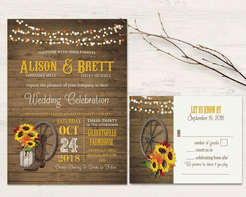 Western Wedding Invitations Templates: Western Wedding Invitations Set Sunflower Fall Wedding Invite