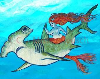 Hammerhead Shark and Mermaid Signed Print by Mister Reusch