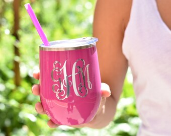 Wine Tumbler, Monogrammed Tumbler. Personalized Tumbler, Bridesmaid Gift, bachelorette party favor, Wine tumbler with lid