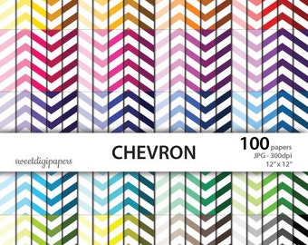Chevron digital paper, rainbow chevron background, chevron scrapbook paper, colors chevron paper, instant download