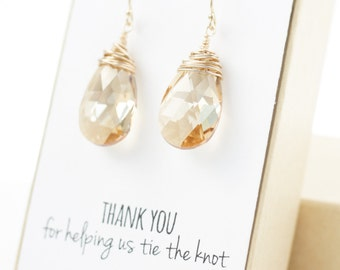 Champagne Gold Swarovski Crystal Earrings - Large Crystal Earrings - Champagne Swarovski Earrings - Wire-Wrapped - Bridesmaid Earrings Gift