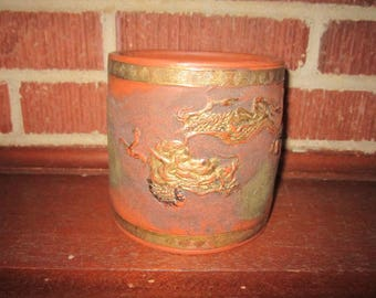 Antique Beautiful Japanese Pottery Tokoname Humidor (no lid) with Dragon and Cloud Motif