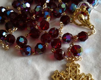 Swavorski Crystal Rosary in Deep Garnet