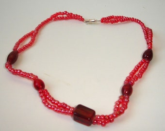 Beautiful red glass necklace