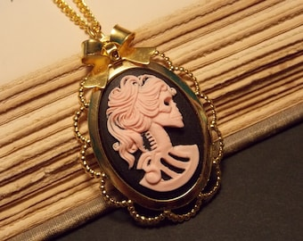 Black and Gold Skeleton Cameo Necklace