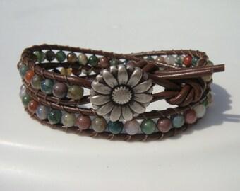 Fancy Jasper Beaded Leather Wrap Bracelet with Daisy Button