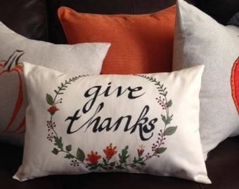 Give Thanks Wreath Pillow Cover Thanksgiving Fall