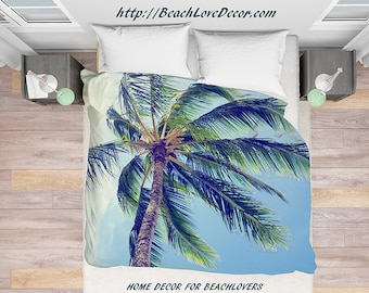 Retro Palm Duvet Cover, vintage Palm Trees Personalized Hawaii Beach Cottage Tropical Home, tropical Bedding, palms bedding, beach bedding