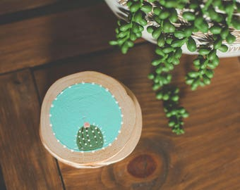 Hand painted Wood Coasters {Cactus} set of 4