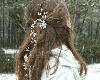 Long Baby's Breath Bridal Hair Vine, Silver hair vine, Bridal Hair accessory