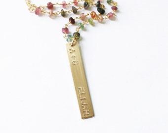 Personalized Jewelry, Jewelry Gift, Gold Bar Necklace, Personalized Bar Necklace, Long Layer Necklace/ Rosary Chain with Gold Bar Necklace