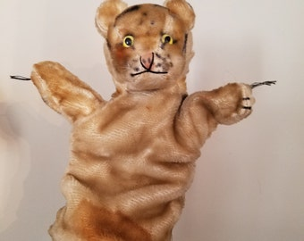 Cute 1950's Vintage Mohair Excelsior Straw Stuffed Striped Tiger Glove Animal Hand Puppet  Glass Eyes Unmarked Steiff